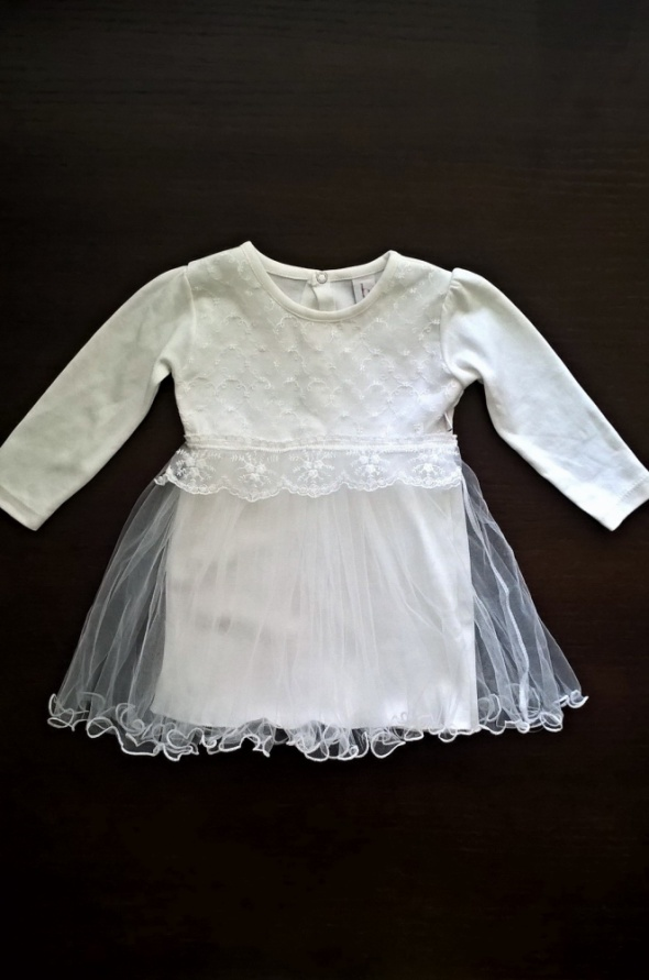 Biała sukieneczka rozm 86 bawełna chrzest wesele