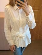 Biała koszulowa bluzka z wiązaniem bawełna...