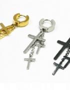Koło Krzyże kolczyk do uszu ze stali nierdzewnej...