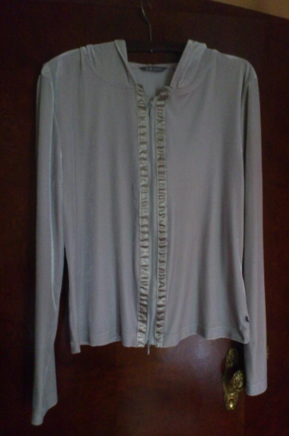 Welurowa ze streczem szarosrebrna bluza z kapturem