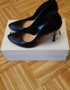 Czarne skórzane szpilki Bravo Moda