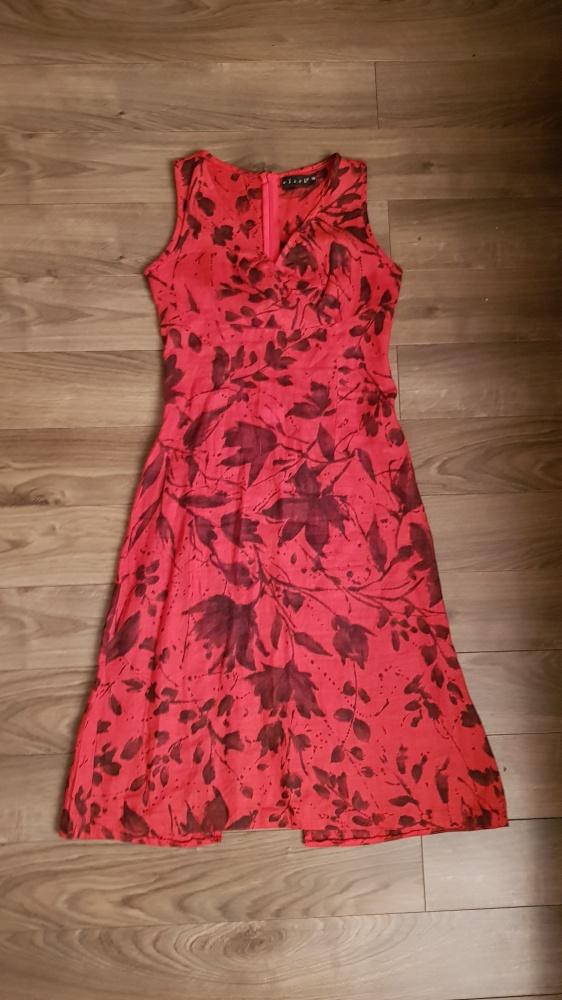Sukienka lniana CLICK r 36 czerwona len...