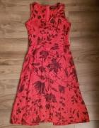 Sukienka lniana CLICK r 36 czerwona len