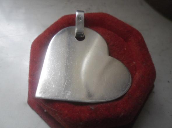 Srebrna zawieszka duże ozdobne serce