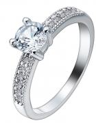 Nowy pierścionek srebrny kolor białe cyrkonie elegancki królews...