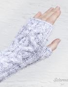 Krótkie mitenki z warkoczem Białe Tweed...