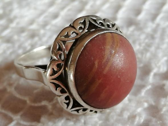 Srebrny pierścionek Warmet koronka rodonit duży rozm 22