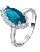 Nowy pierścionek srebrny kolor niebieska cyrkonia królewski...