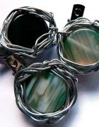 Broszka z zielonym agatem wire wrapping...