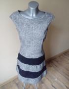 Nowa piękna szara sukienka z koronkowymi plackamiM