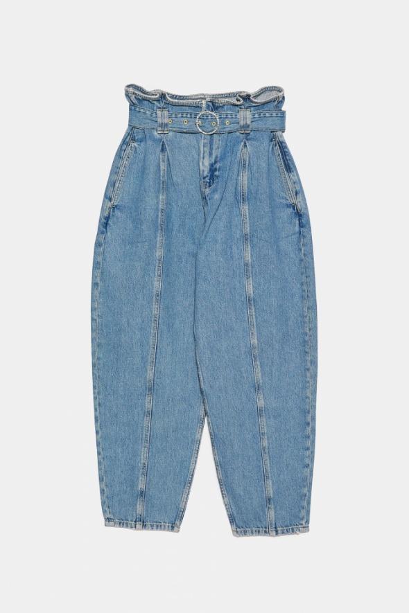 ZARA jeansy slouchy z ozdobnym paskiem 38 M nowe