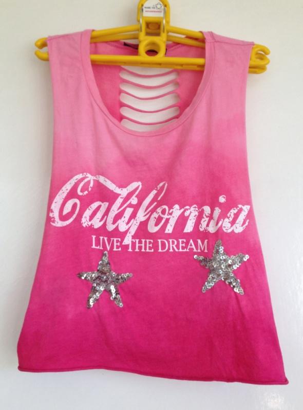 Top Zumba taniec gwiazdki cekiny ombre rozcięcia na plecach różowy California live the dream ręcznie malowany XS S M 34 36 38