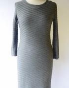 Sukienka Szara Mango Suit L 40 Elegancka Ołówkowa Prążki...
