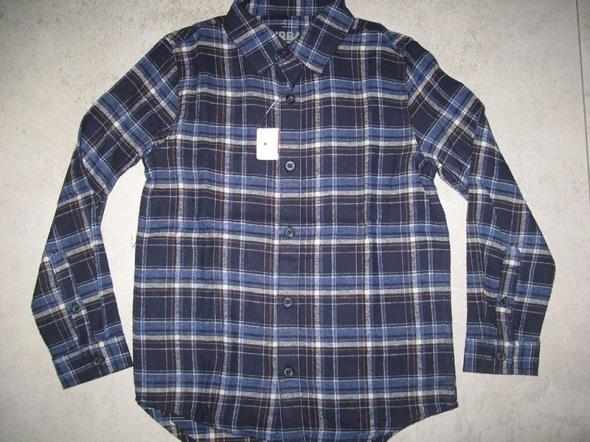 F&F bluzka granatowa koszula chłopięca w kratę roz 128