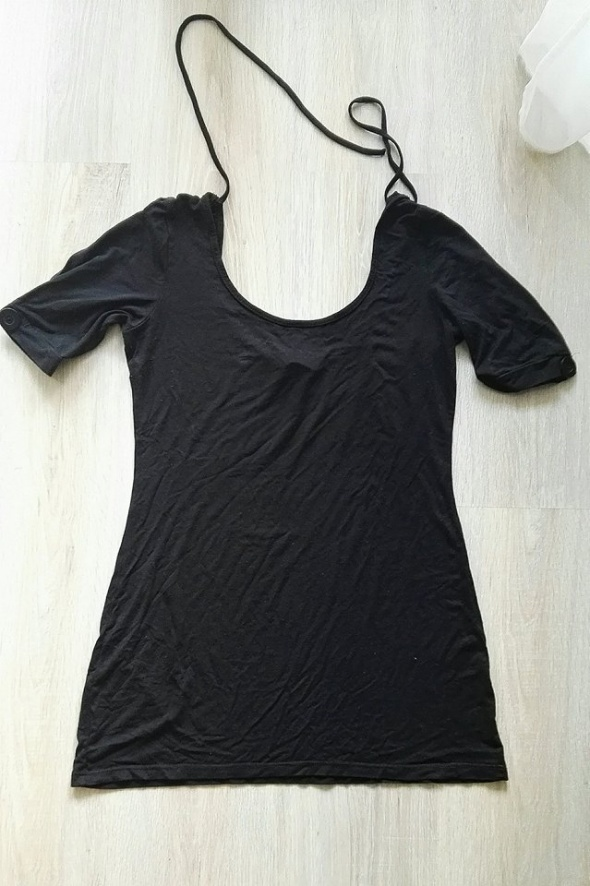 H&M czarna bluzka z guzikiem na rękawku 36 S...