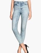 Nowe spodnie jeansy dżinsy H&M 33 42 XL acid wash wybielane rur...