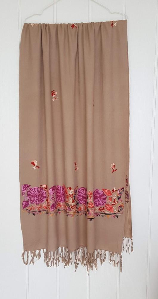 Nowy szal szalik wełniany brążowy beżowy kwiaty haft floral wzór pashmina paszmina wełna