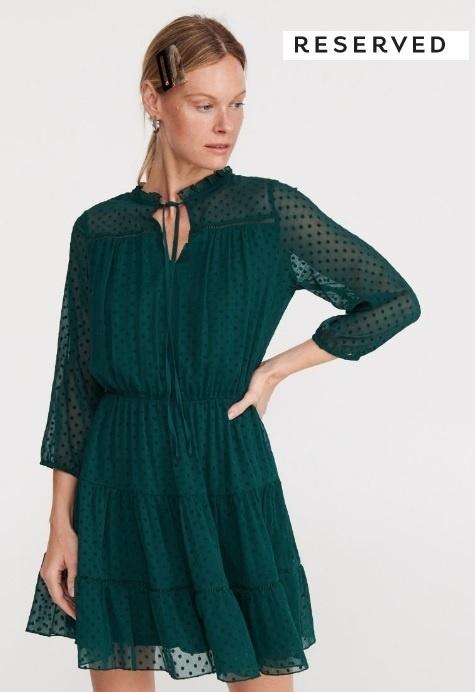 Sukienka Reserved zielona plumeti S 36