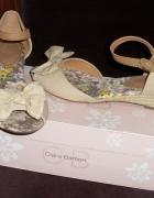 Nowe sandały Clara Barson kokardka beżowe 245 cm...