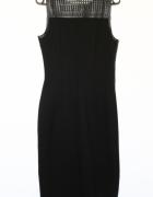 Czarna sukienka ze skórzanymi wstawkam...