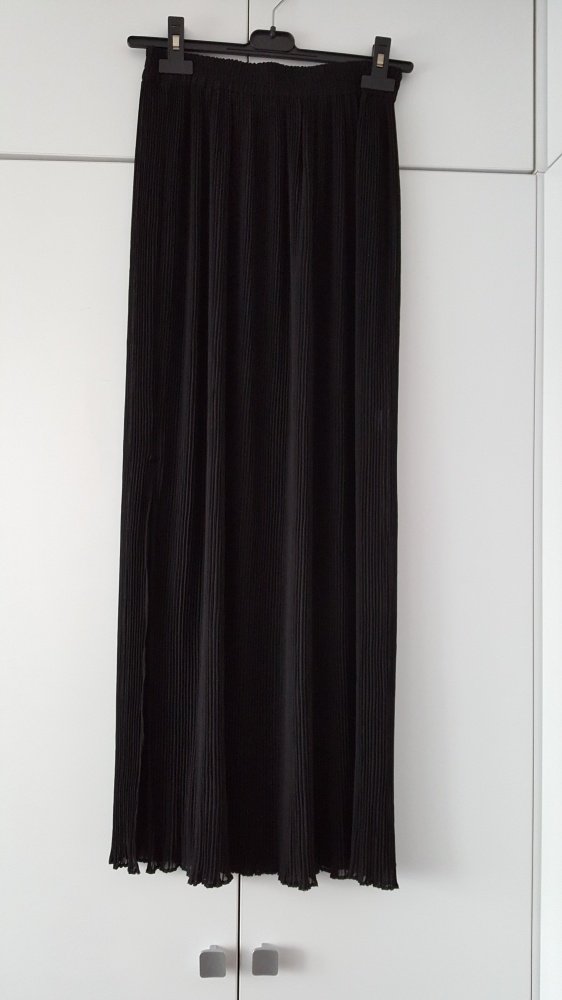 Spódnice Czarna plisowana spódnica maxi vintage