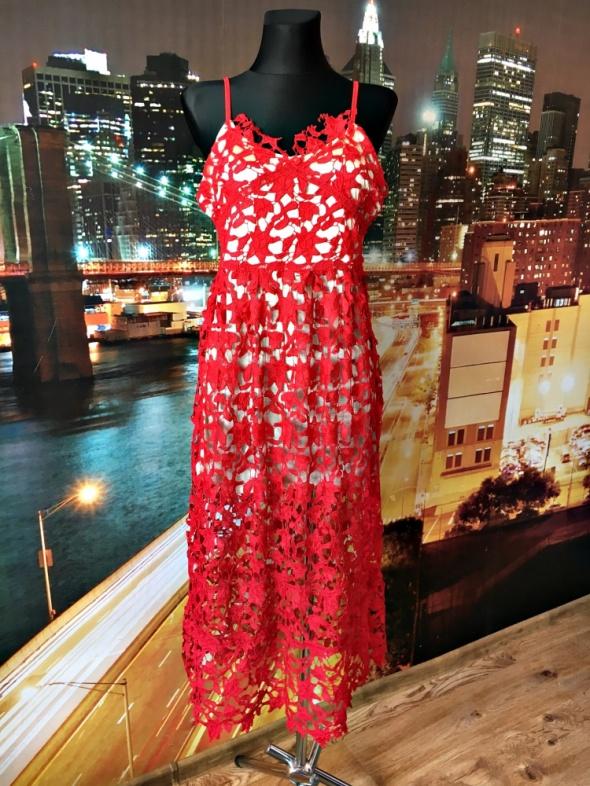 sukienka maxi czerwona koronkowa gipiura zip elegancka 38 M