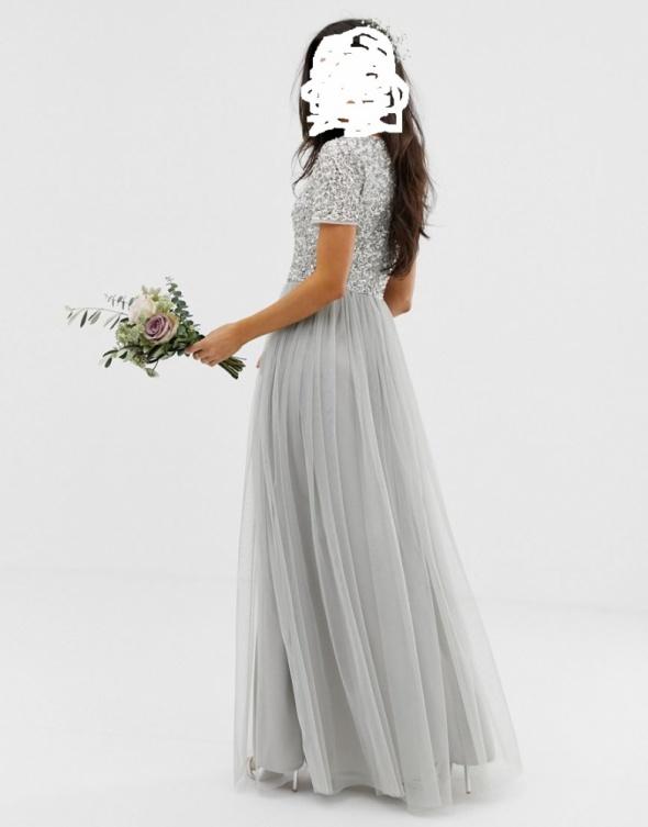 Maxi suknia srebrna tiul 36