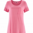 Bluzka z kieszonką asymetryczny dół różowa