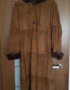 Prawdziwe włoskie futro płaszcz Lapin skóra naturalna z królika...