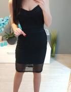 Czarna sukienka bandażowa siateczka piękna s...