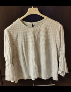 Biała koszulka elegancka z czarnymi kropkami H&M rozm S 36...