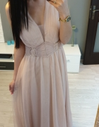 Piękna sukienka maxi nude beż tiul koronkowe plecy s m l...
