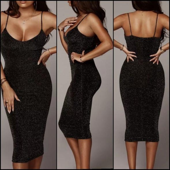 Midi Czarna połyskliwa sukienka na ramiączkach dopasowana s
