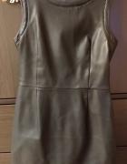 Skórzana czarna sukienka z łańcuszkami rozmiar 36 S Reserved kr...