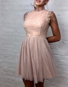 Piękna beżowa nude sukienka tiul koronka s m l...