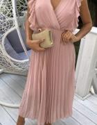 Pudrowy róż maxi sukienka długa plisowana s m...