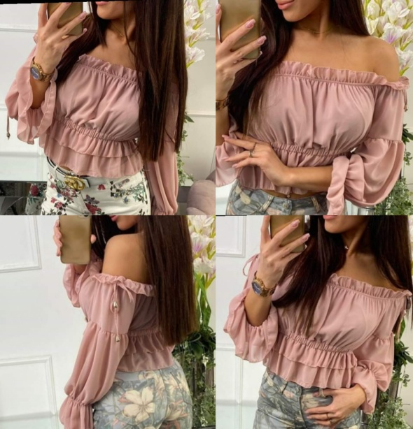Rożowa bluzka Hiszpanka długi rękaw s m