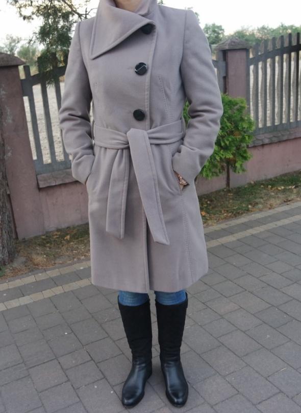 długi płaszcz szary wiązany 36