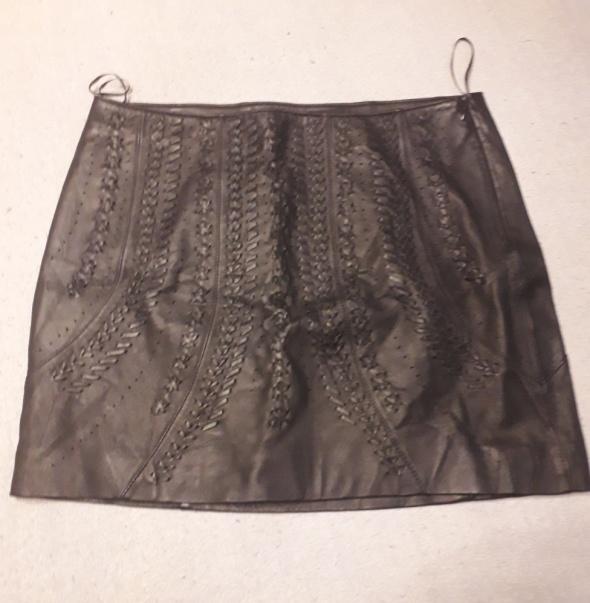 Spódnice Skórzana spódnica Zara plecionka
