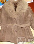 Ciepły skórzany prawdziwy kożuszek na zimę L...