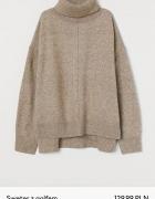 H&M sweter z golfem beżowy melanż...