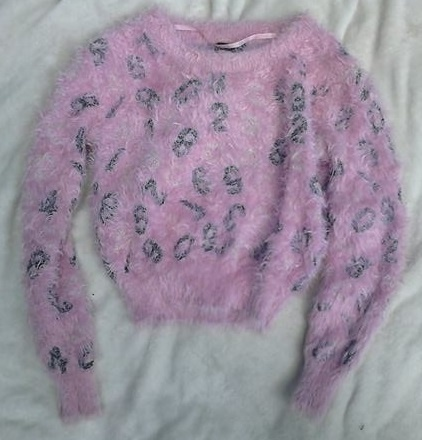 Cudny różowy sweterek w cyferki puchacz XS 34