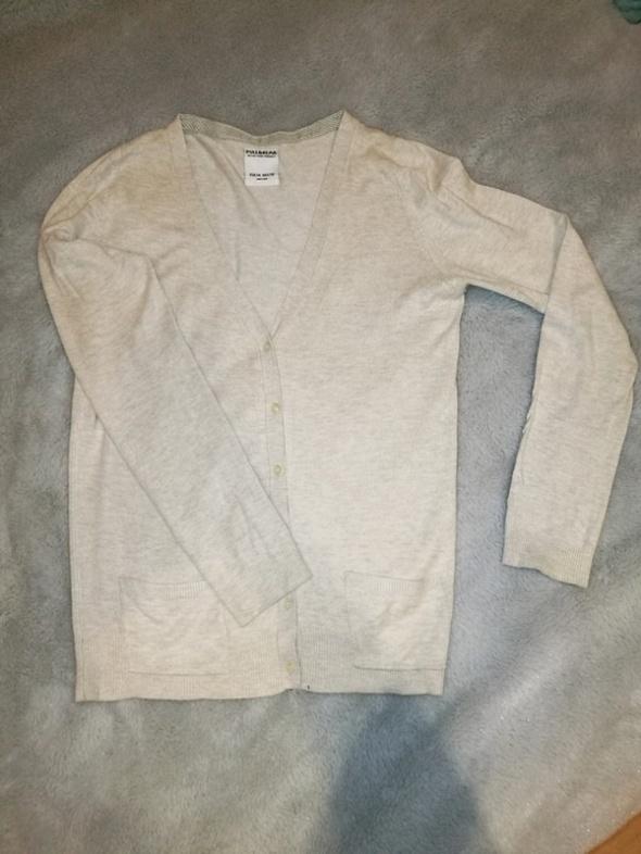 Kremowy kardigan rozpinany sweterek pull&bear M...