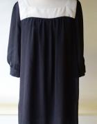 Sukienka Czarna H&M XL 42 Oversize Elegancka Kremowa...