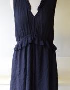 Sukienka Granatowa H&M XXL 44 Falbanka Pracy Frędzle...