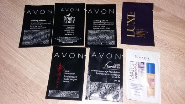 Próbki podkładów 7 sztuk nowe Avon Rimmel...
