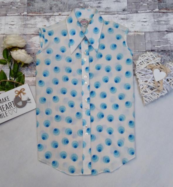 Bluzka Koszulowa Koszula Bezrękawnik Pawie Oczka Retro Pin Up Folk Vintage Unikat Prl Pewex