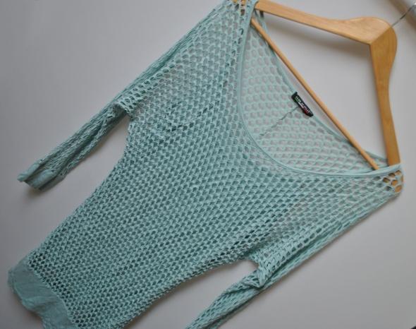 Bluzka Kimono 2w1 Siatka Siateczka Ażurowa Dziury Z Dziurami Top Pastelowy Mięta Miętowy Pale Tumblr Insta