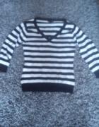 Sweterek w biało czarne pasy H&M 36