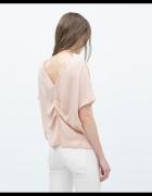 Bluzka Zara oversize ozdobne plecy Nude jedyna taka pudrowy roz...